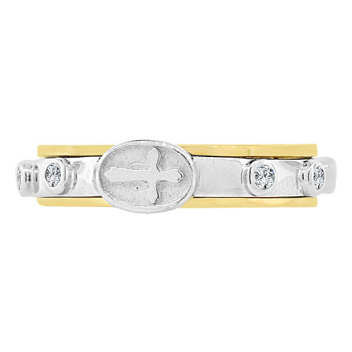 14k Yellow & White Gold, Rosary Prayer Band Ring Virgin Mary & Rose Beads (R128-855)