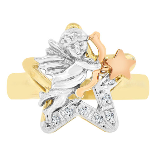 14k Tricolor Gold, Cupid Angel Bow Arrow Star Design Ring Cubic Zirconia (R129-001)