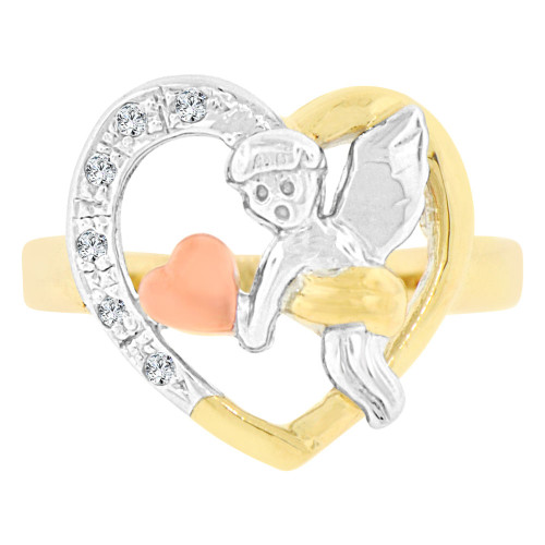14k Tricolor Gold, Cupid Angel Heart Design Ring Cubic Zirconia (R129-002)