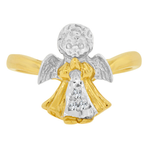 14k Yellow & White Gold, Baby Angel Design Ring Cubic Zirconia (R129-003)