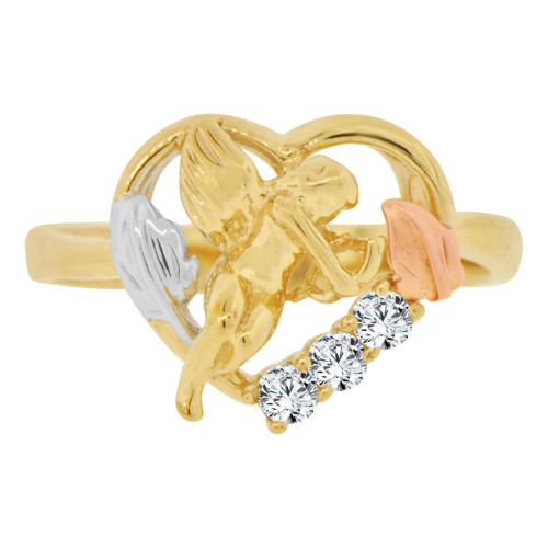 14k Tricolor Gold, Cupid Angel Heart Design Ring Cubic Zirconia (R129-004)