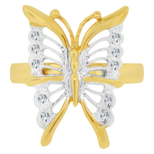 14k Yellow & White Gold, Fancy Filigree Style Butterfly Design Ring Cubic Zirconia (R129-006)