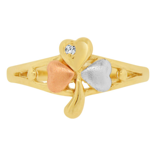 14k Tricolor Gold, Small 3 Leaf Clover Design Ring Cubic Zirconia (R129-008)