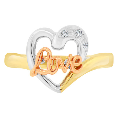 14k Tricolor Gold, Small Love Heart Design Ring Cubic Zirconia (R129-013)