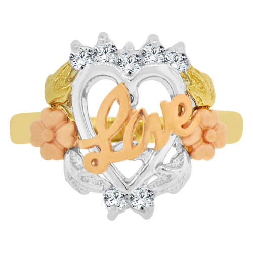 14k Tricolor Gold, Love in Flower & Heart Design Ring Cubic Zirconia (R129-014)