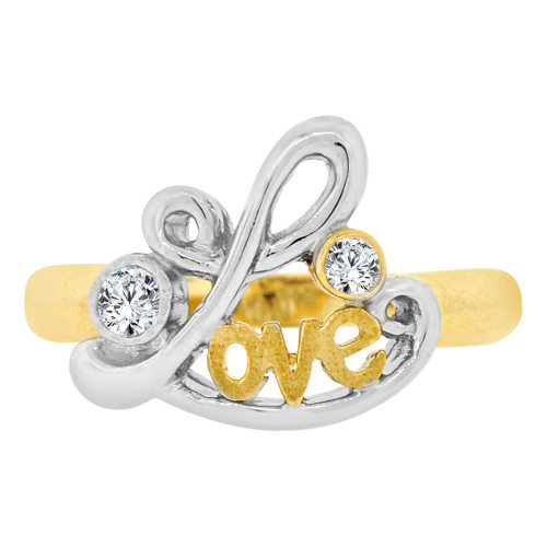 14k Yellow & White Gold, Simple Love Design Ring Cubic Zirconia (R129-015)