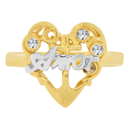 14k Yellow & White Gold, Amor in Heart Design Ring Cubic Zirconia (R129-016)