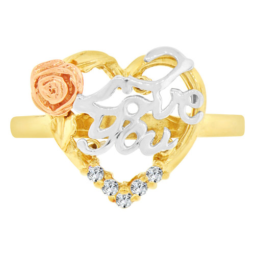 14k Tricolor Gold, I Love You Flower & Heart Design Ring Cubic Zirconia (R129-017)