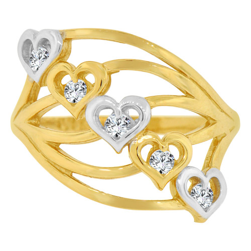 14k Yellow Gold, 5 Hearts Layered Design Ring Cubic Zirconia (R129-019)