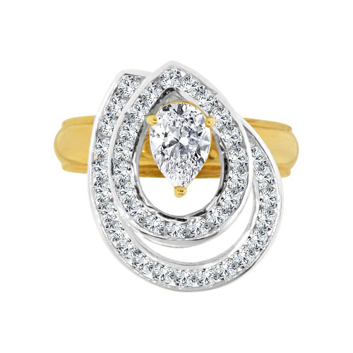 14k Yellow Gold White Rhodium, 2 Layer Spin Motion Ring Pear Shape Cubic Zirconia (R129-020)