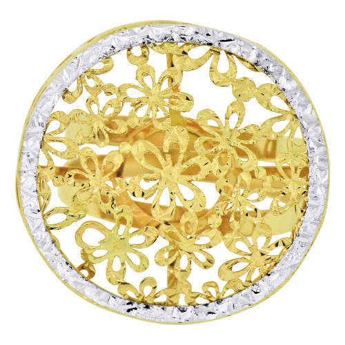 14k Yellow Gold White Rhodium, Modern Flower Design Filigree Style Ring Sparkle Cut (R129-025)