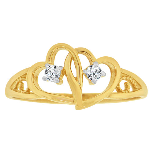 14k Yellow Gold, Classic Double Heart Design Ring Cubic Zirconia (R129-026)