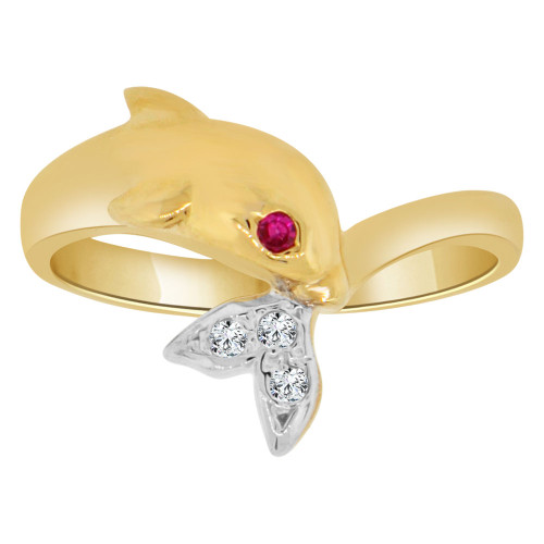 14k Yellow Gold, Classic Dolphin Ring Cubic Zirconia (R129-027)