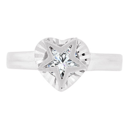 14k White Gold, Star & Heart Design Ring Cubic Zirconia (R129-055)