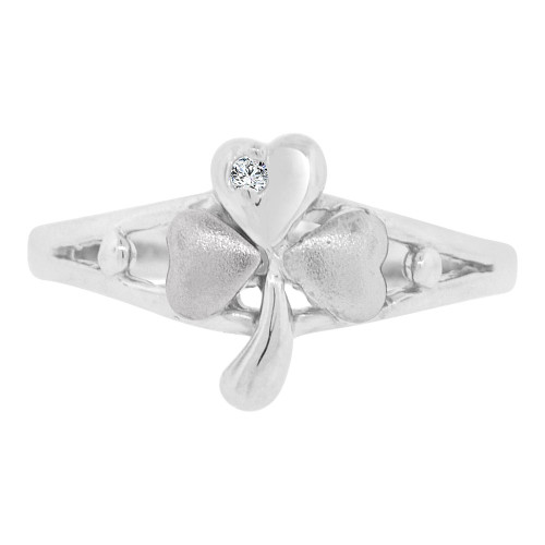 14k White Gold, Small Good Luck Clover Design Ring Cubic Zirconia (R129-058)