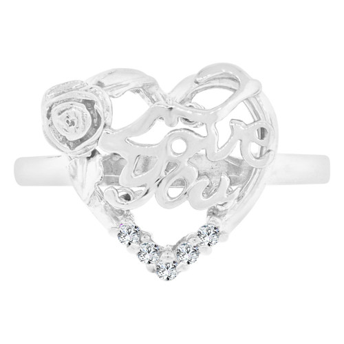 14k White Gold, I Love You in Flower & Heart Design Ring Cubic Zirconia (R129-067)