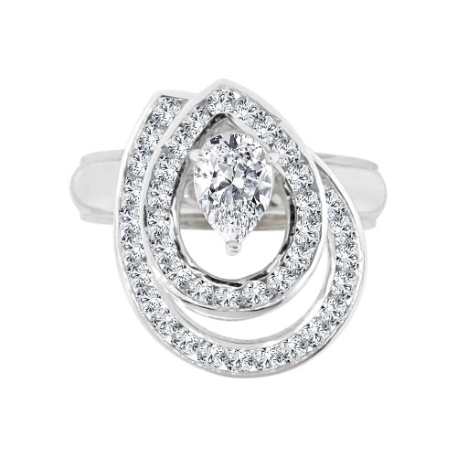 14k White Gold, 2 Layer Spin Motion Ring Pear Shape Cubic Zirconia (R129-070)