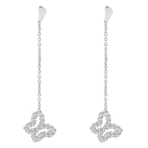 14k White Gold, Butterflies Dangling Earring Synthetic CZ Crystals Push Back (E001-056)