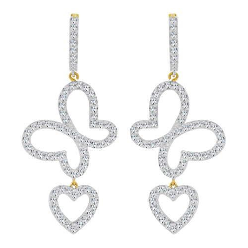 14k Yellow Gold White Rhodium, Fancy Butterfly Heart Drop Earring Created CZ Crystals (E002-007)