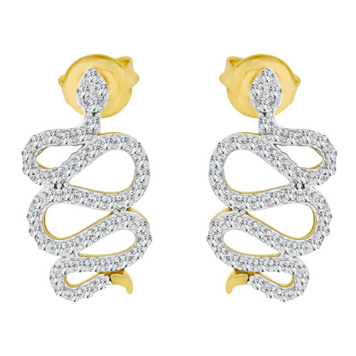14k Yellow Gold White Rhodium, Snake Earring Created CZ Crystals Push Backings (E002-028)