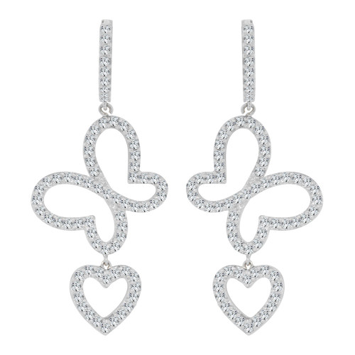 14k Gold White Rhodium, Butterfly Heart Dangling Drop Earring Created CZ Crystals (E002-057)