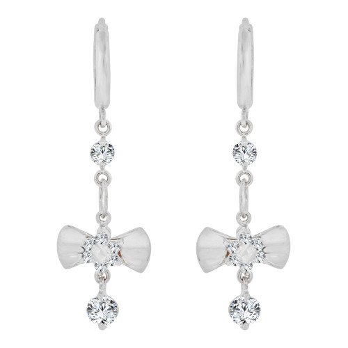 14k Gold White Rhodium, Dangling Drop Bow Earring Huggies Clasp Created CZ Crystals (E002-074)