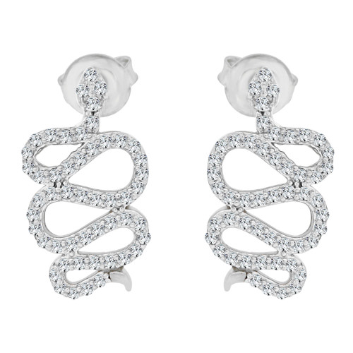 14k Gold White Rhodium, Snake Earring Created CZ Crystals Push Backings (E002-078)