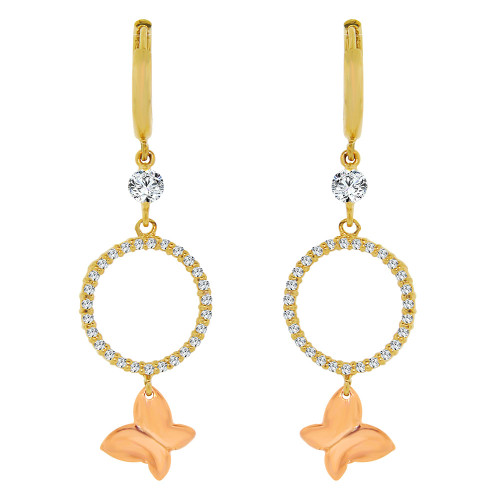 14k Yellow & Rose Gold, Circle of Life Butterfly Drop Earring Created CZ Crystals (E003-019)