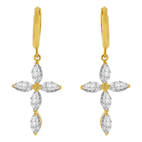 14k Yellow Gold, Cross Religious Drop Earring Huggies Clasp Created CZ Crystals (E003-025)