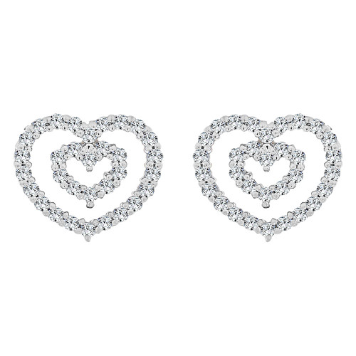 14k Gold White Rhodium, Double Heart Design Earring Push Back Created CZ Crystals (E003-053)