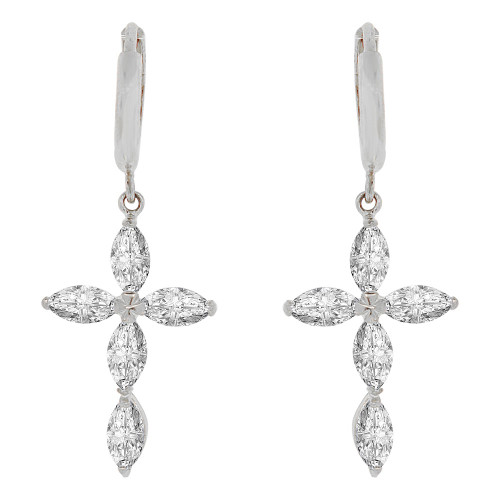 14k Gold White Rhodium, Cross Religious Drop Earring Huggies Clasp Created CZ Crystals (E003-075)
