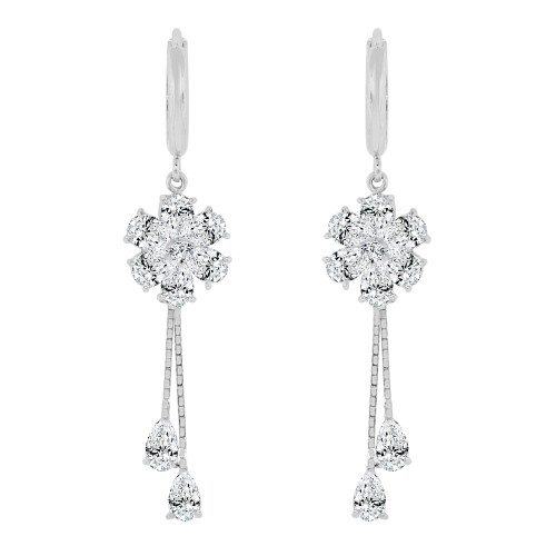 14k Gold White Rhodium, Flower Drop Huggies Clasp Earring Created CZ Crystals (E003-076)