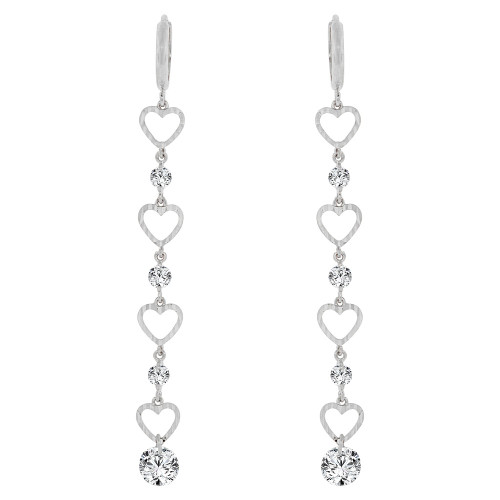 14k Gold White Rhodium, Classic Hearts Long Drop Earring Created CZ Crystals (E003-079)