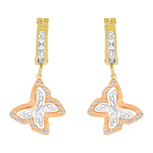 14k Tricolor Gold, Light Weight Butterfly Huggies Earring Created CZ Crystals (E004-025)