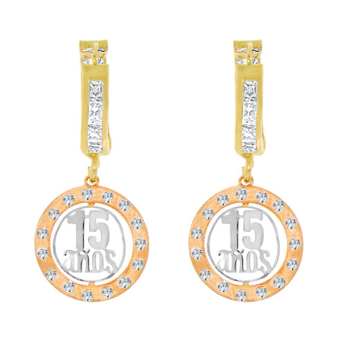 14k Tricolor Gold, Hanging 15 Anos Quinceanera Huggies Earring Created CZ Crystals (E004-026)