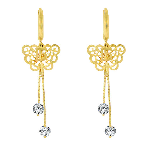 14k Yellow Gold, Quinceanera 15 Anos Butterfly Drop Earring Created CZ Crystals (E004-027)