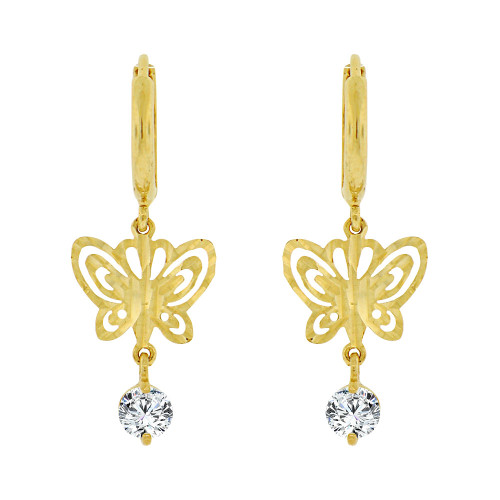 14k Yellow Gold, Butterfly Sparkling Cut Drop Earring Created CZ Crystals (E004-029)