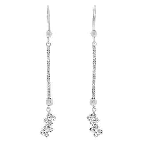 14k Gold White Rhodium, Classic Drop Earring Wire Clasp Created CZ Crystals (E004-052)