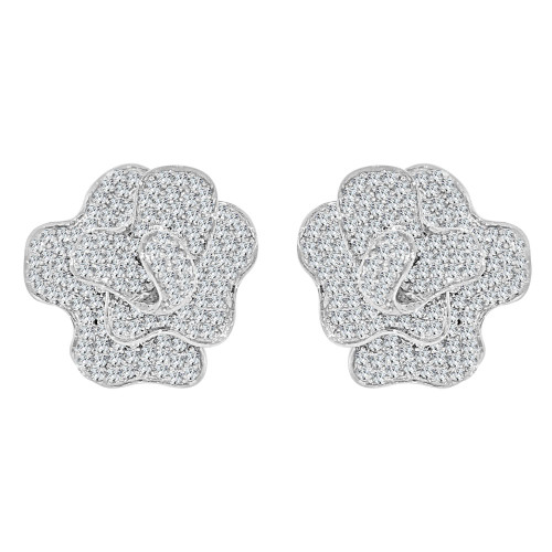 14k Gold White Rhodium, Fancy Flower Bloom Earring Created CZ Crystals (E004-065)