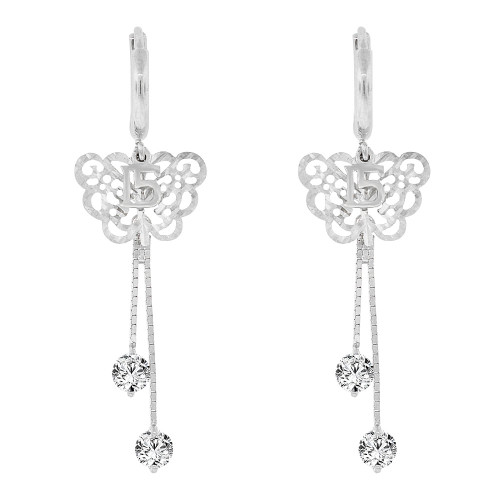 14k Gold White Rhodium, Quinceanera 15 Anos Butterfly Drop Earring Created CZ Crystals (E004-077)