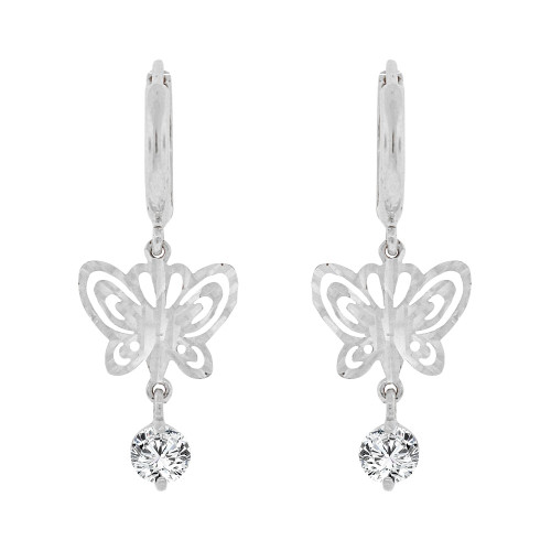 14k Gold White Rhodium, Butterfly Sparkling Cut Drop Earring Created CZ Crystals (E004-079)