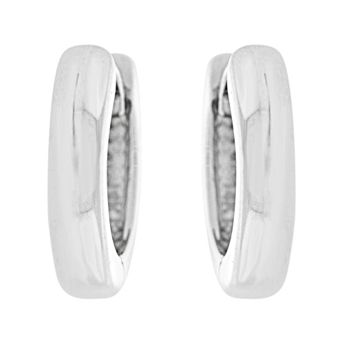 14k Gold White Rhodium, Classic Mini Hoop Huggies Earring Plain Polished 12mm Diameter (E004-082)