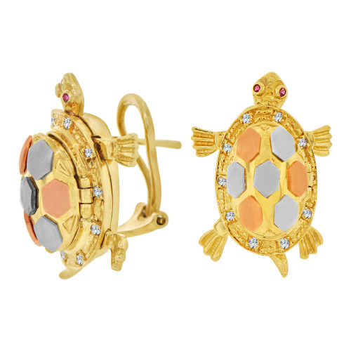14k Tricolor Gold, Mystical Tortoise Turtle Earring Created CZ Crystals (E005-007)