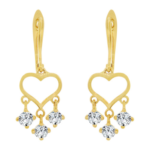 14k Yellow Gold, Small Hearts Drop Earring Created CZ Crystals (E005-010)