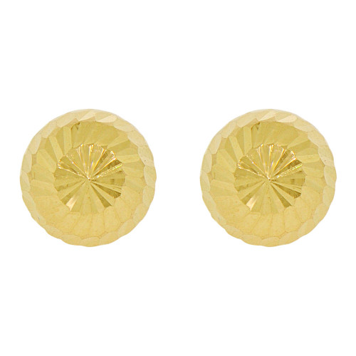 14k Yellow Gold, Facetted Sparkling Hollow Ball Bead Earring Push Back 10mm Wide (E005-017)