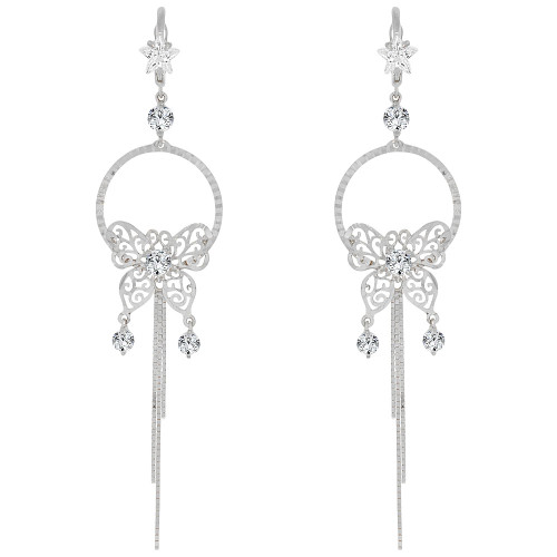 14k Gold White Rhodium, Fancy Large Butterfly Drop Earring Created CZ Crystals (E005-054)