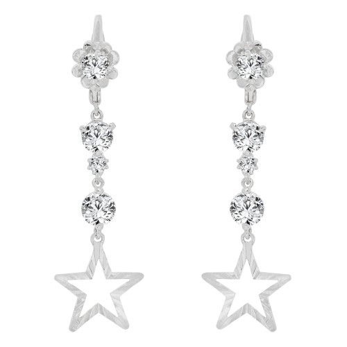 14k Gold White Rhodium, Star & Flower Design Drop Earring Created CZ Crystals (E005-056)
