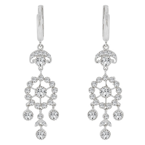 14k Gold White Rhodium, Chandelier Earring Created CZ Crystals (E005-058)