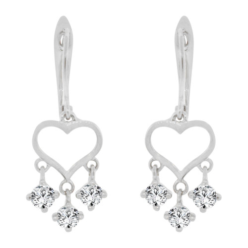 14k Gold White Rhodium, Small Heart Drop Earring Created CZ Crystals (E005-060)