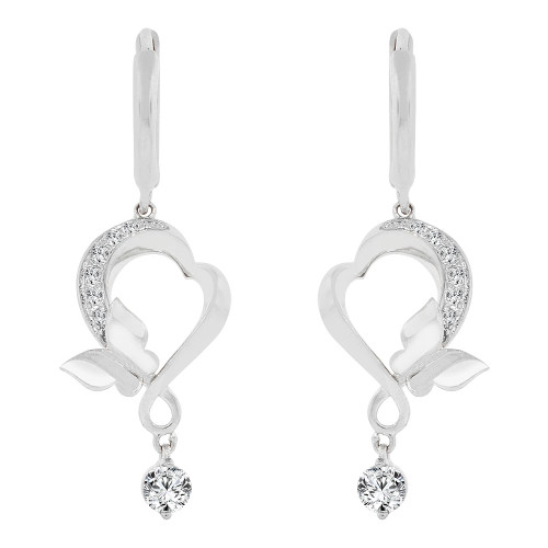 14k Gold White Rhodium, Modern Abstract Heart & Butterfly Drop Earring (E005-063)